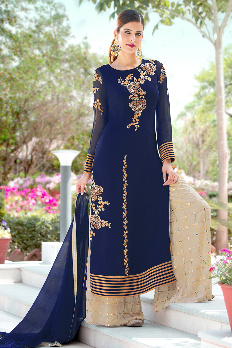 Georgette Designer Palazzo Salwar Suit In Blue Color
