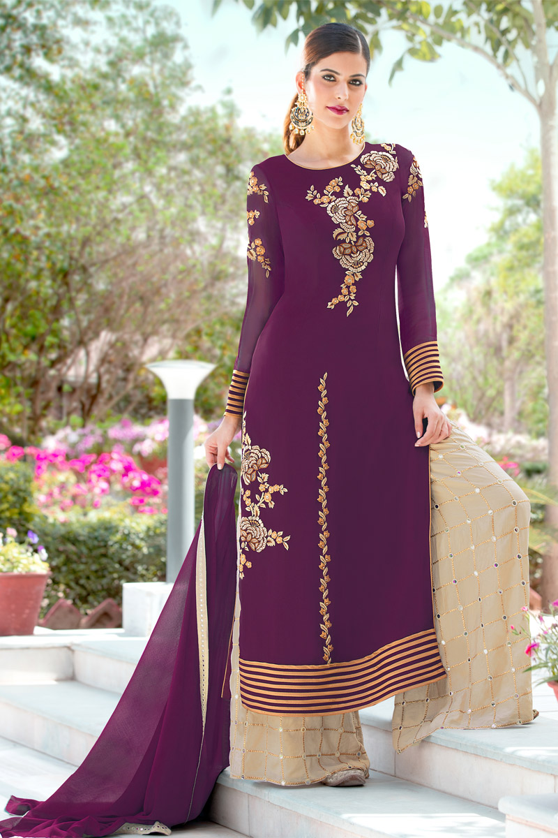 Festive Special Magenta Color Georgette Fabric Function Wear Embroidered Palazzo Salwar Kameez