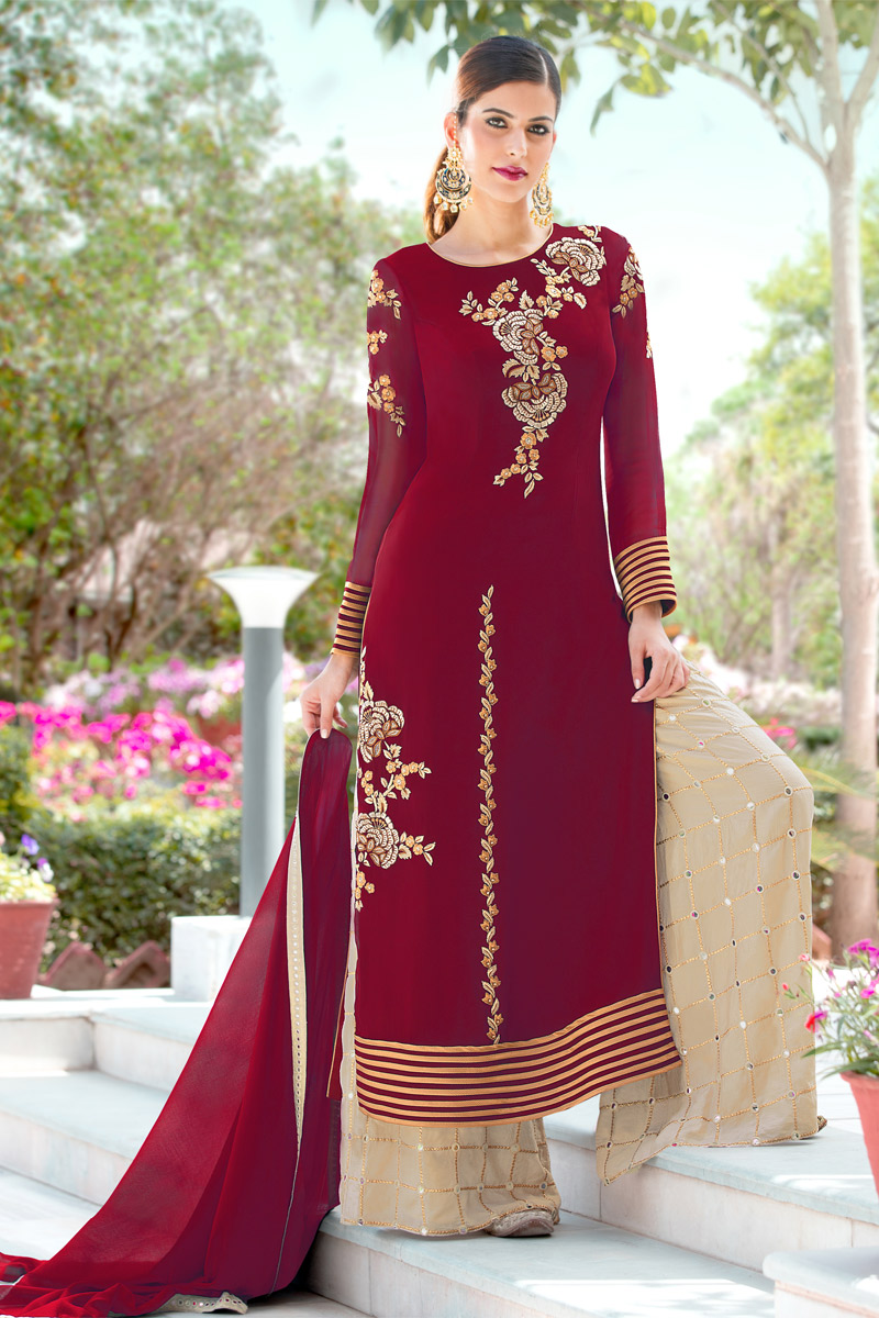Maroon Embroidery Work Occasion Wear Palazzo Dress
