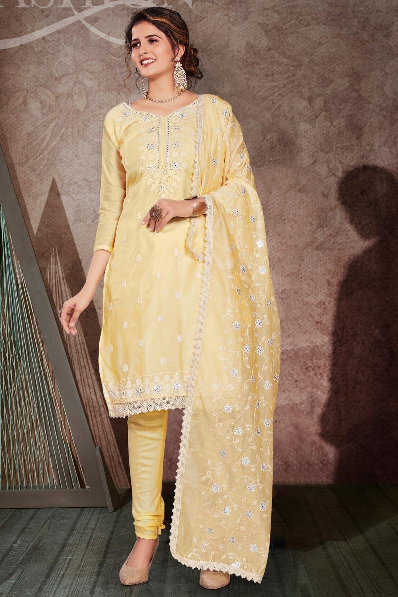 Fancy Embroidery Work Yellow Color Chanderi Fabric Salwar Kameez