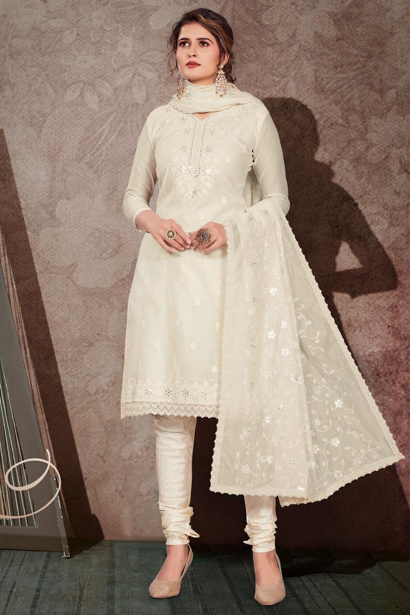 Chanderi Fabric Cream Color Suit