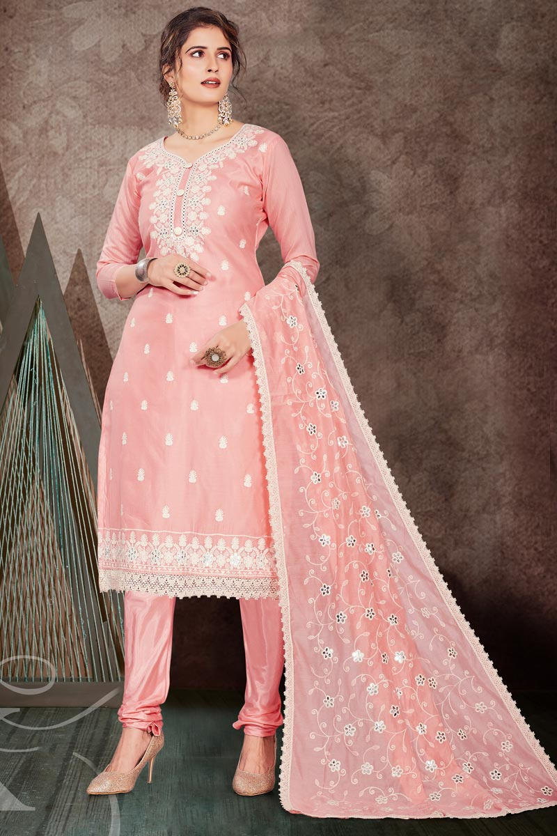Pink Color Embroidered Chanderi Fabric Party Wear Salwar Kameez