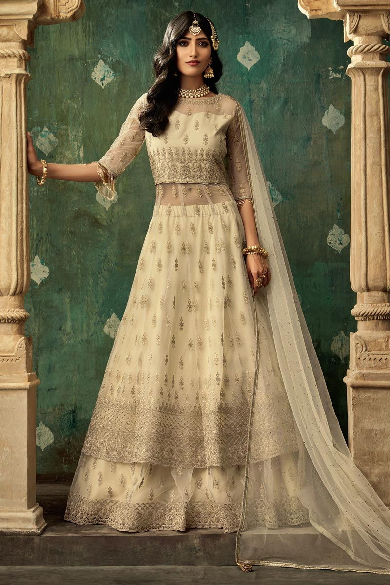 Eid Special Designer Function Wear Net Fabric Embroidered Sharara Top Lehenga In Beige