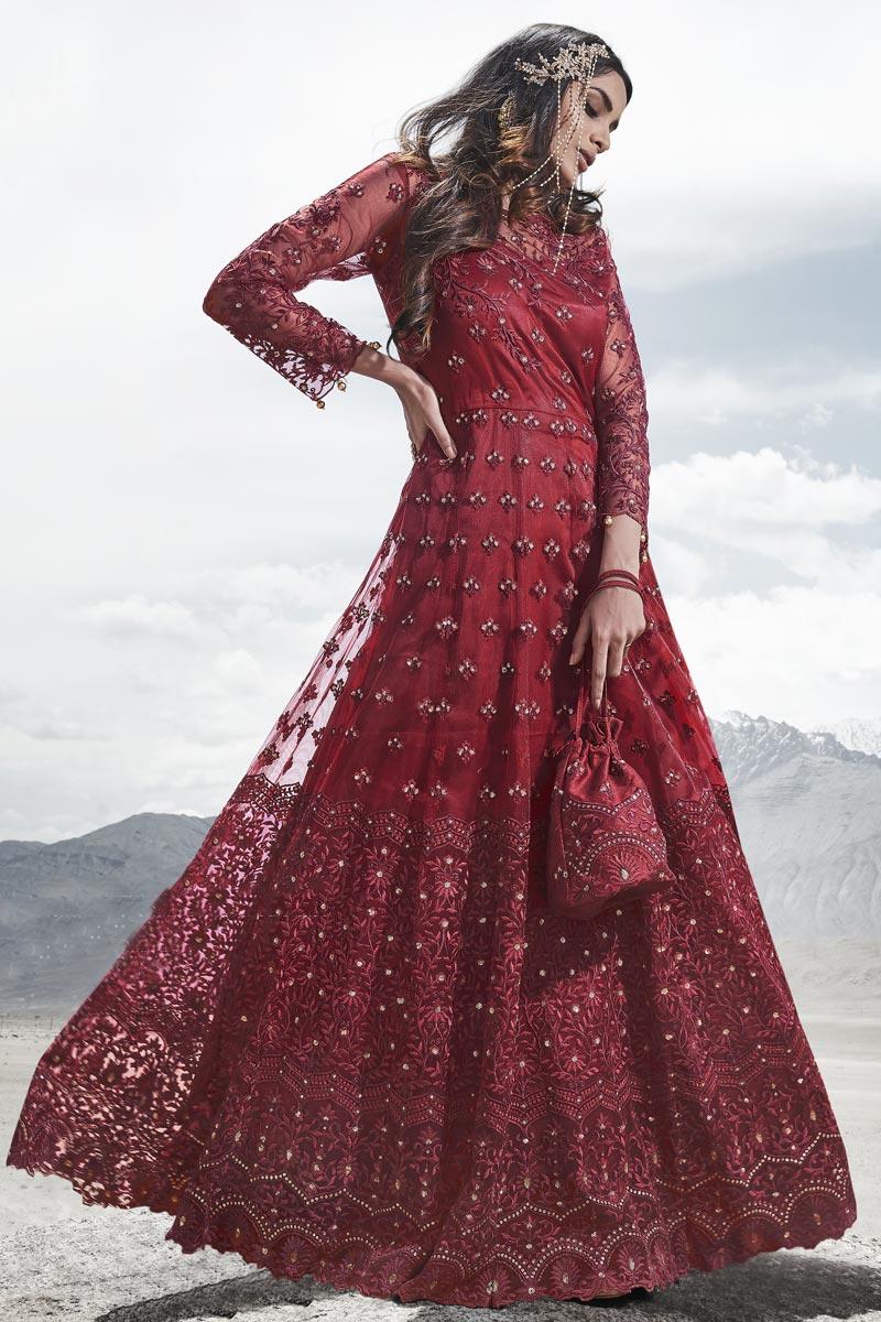 Wedding Wear Net Fabric Embroidered Gown Style Anarkali Dress In Maroon