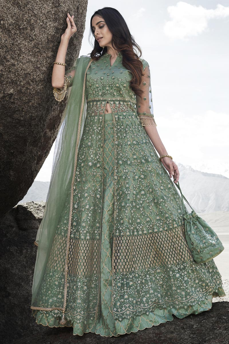 Festive Special Net Fabric Wedding Wear Sea Green Embroidered Gown Style Anarkali Suit