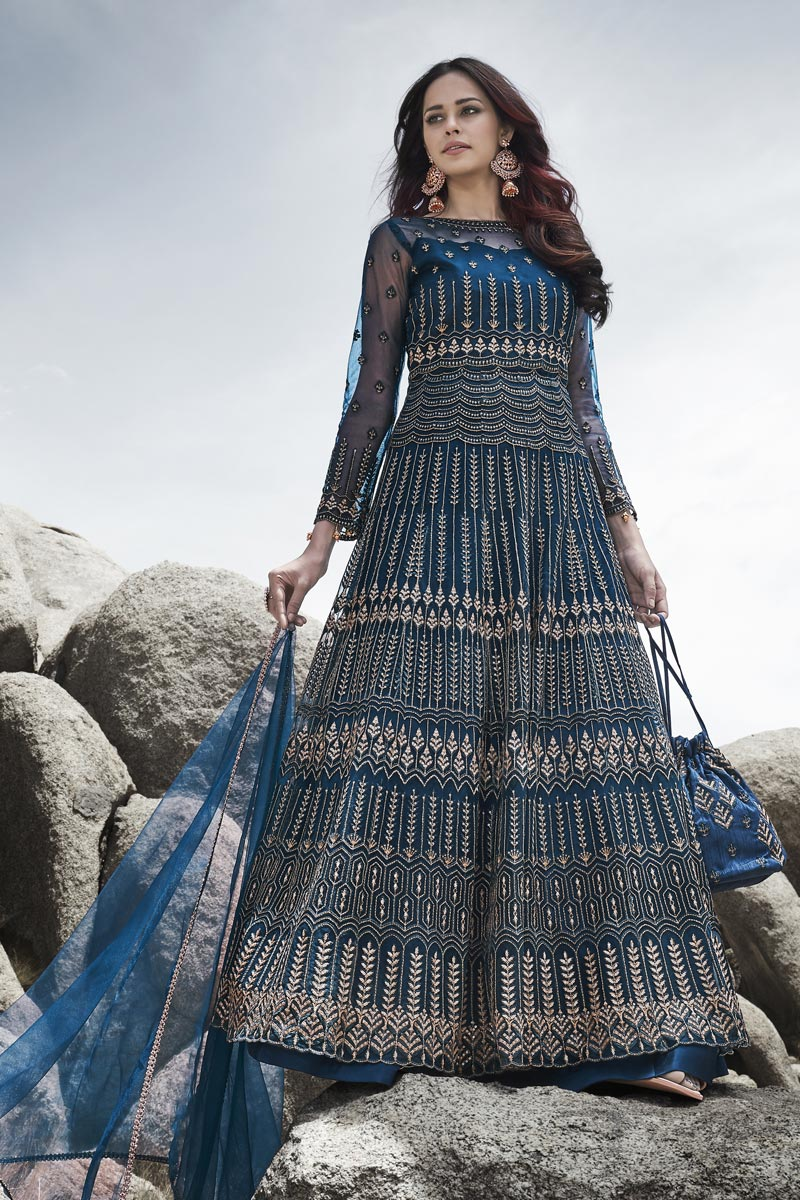 Wedding Wear Navy Blue Net Fabric Embroidered Gown Style Anarkali Suit