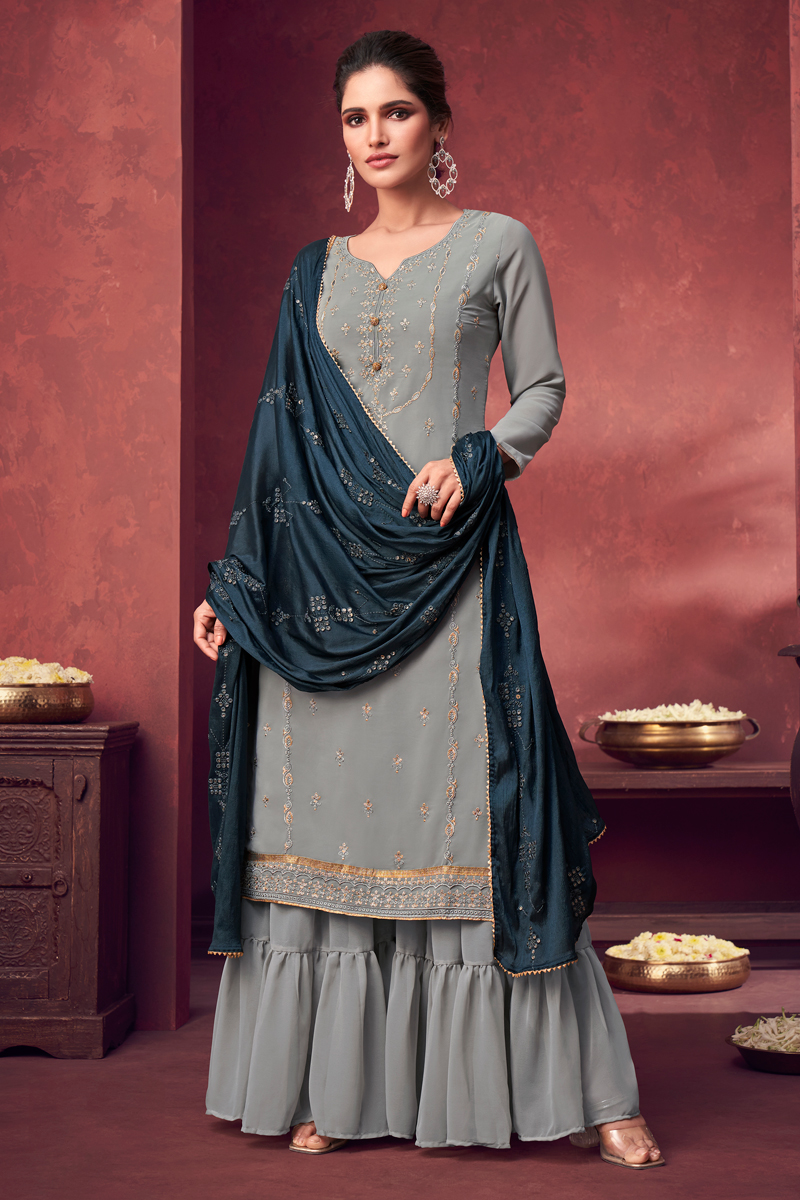 Grey Color Festive Wear Embroidered Georgette Fabric Palazzo Suit