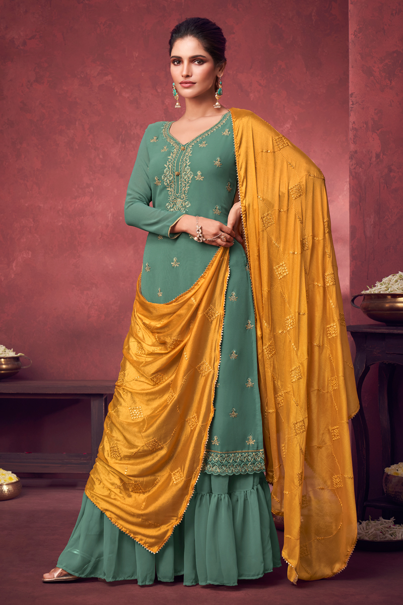 Georgette Fabric Party Style Sea Green Color Embroidered Palazzo Suit