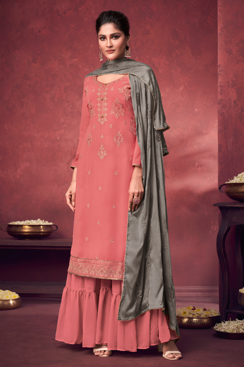 Peach Color Georgette Fabric Party Style Embroidered Palazzo Dress
