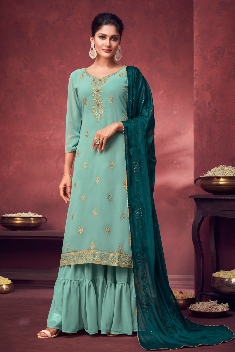 Georgette Fabric Party Style Embroidered Palazzo Dress In Light Cyan Color