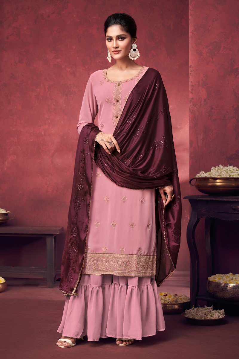 Party Style Georgette Fabric Pink Color Embroidered Palazzo Suit