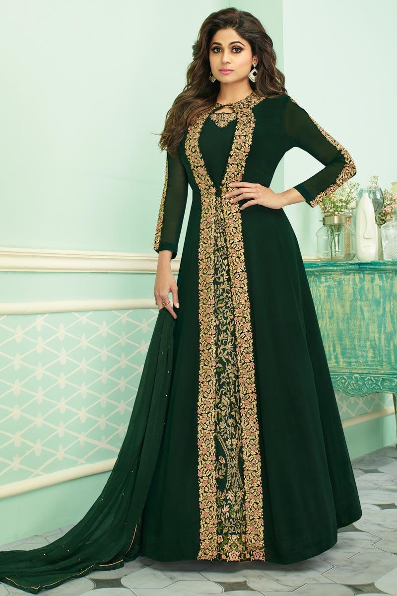 Eid Special Shamita Shetty Georgette Designer Traditional Wear Embroidered Dark Green Anarkali Suit