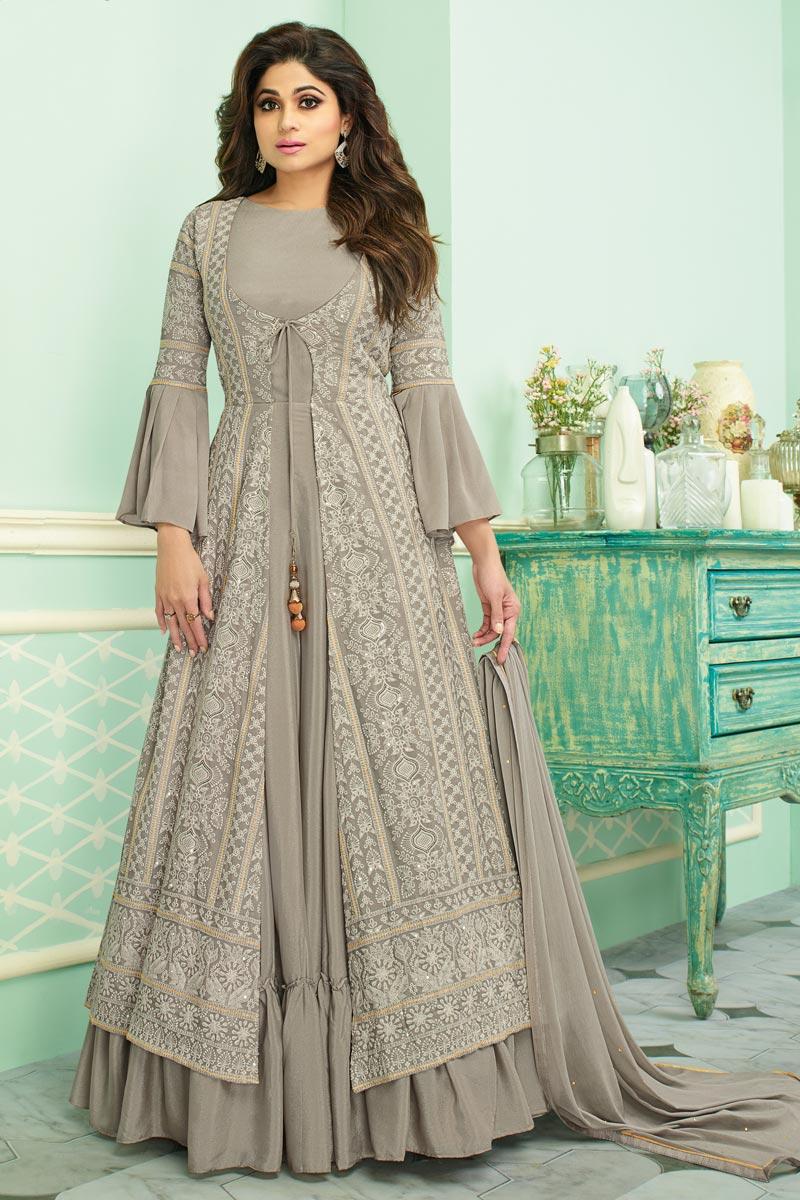 Shamita Shetty Designer Cream Embroidered Traditional Wear Anarkali Dress In Georgette