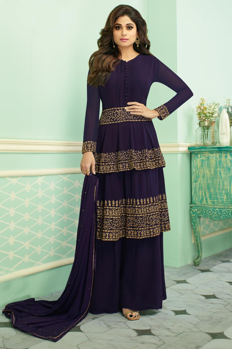 Eid Special Shamita Shetty Georgette Designer Traditional Wear Purple Embroidered Palazzo Suit