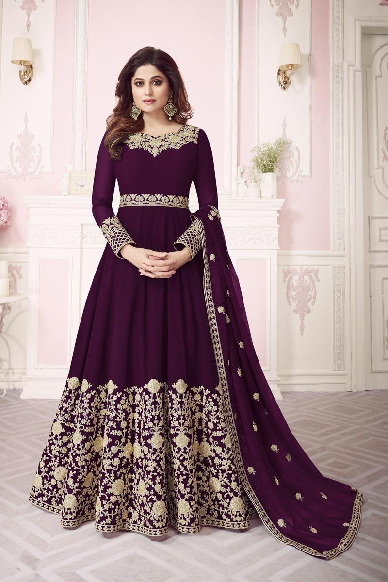 Shamita Shetty Georgette Purple Embroidered Function Wear Designer Anarkali Salwar Suit