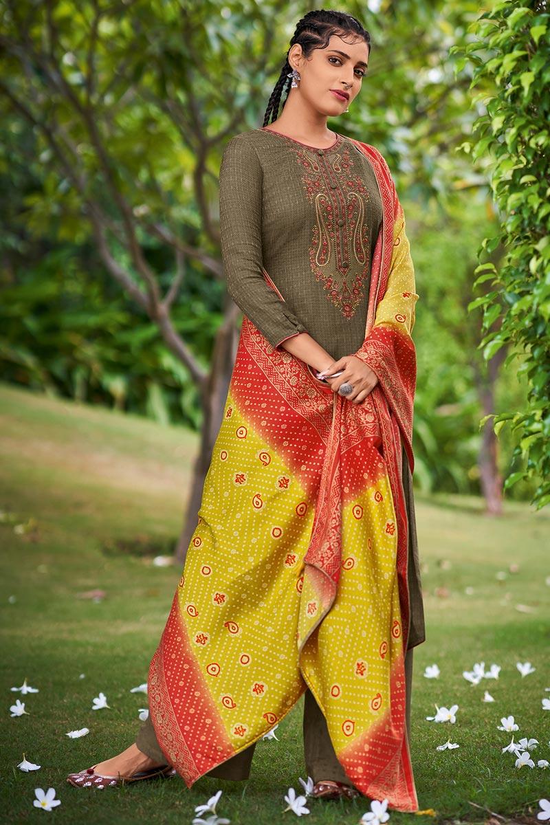 Mehendi Green Color Pashmina Fabric Casual Wear Palazzo Dress With Printed Dupatta