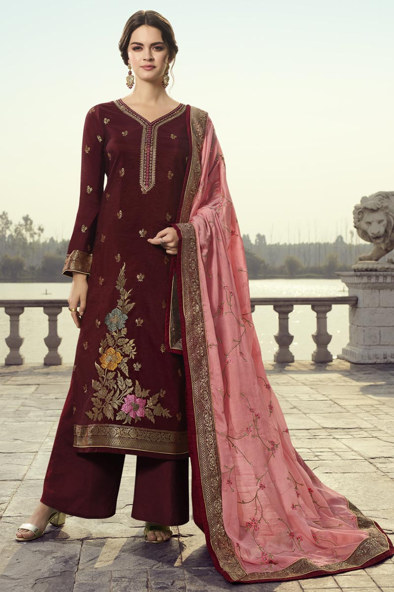 Maroon Color Function Wear Chic Embroidered Palazzo Dress In Viscose Fabric