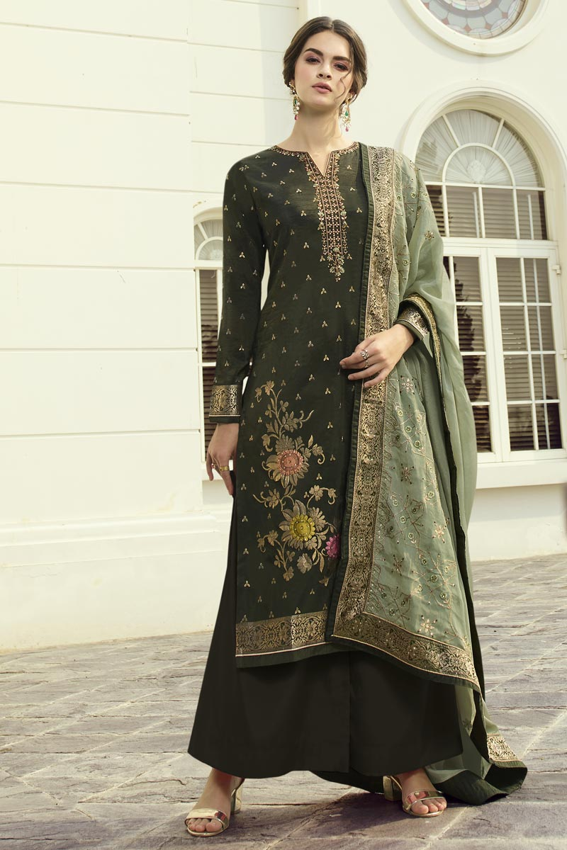 Function Wear Mehendi Green Color Viscose Fabric Chic Embroidered Palazzo Suit