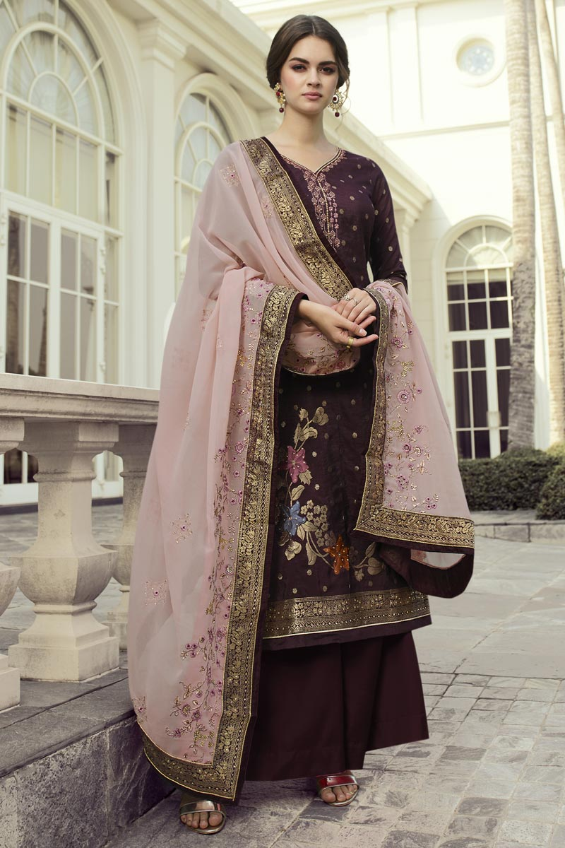 Viscose Fabric Function Wear Chic Embroidered Palazzo Dress In Wine Color