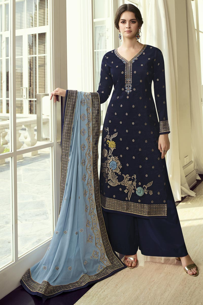 Function Wear Navy Blue Color Chic Embroidered Viscose Fabric Palazzo Suit