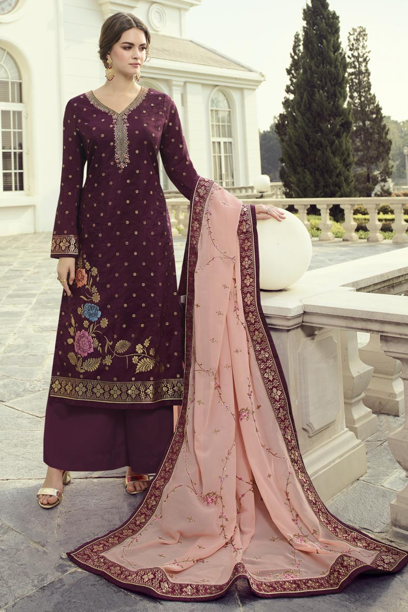 Function Wear Burgundy Color Chic Embroidered Palazzo Dress In Viscose Fabric