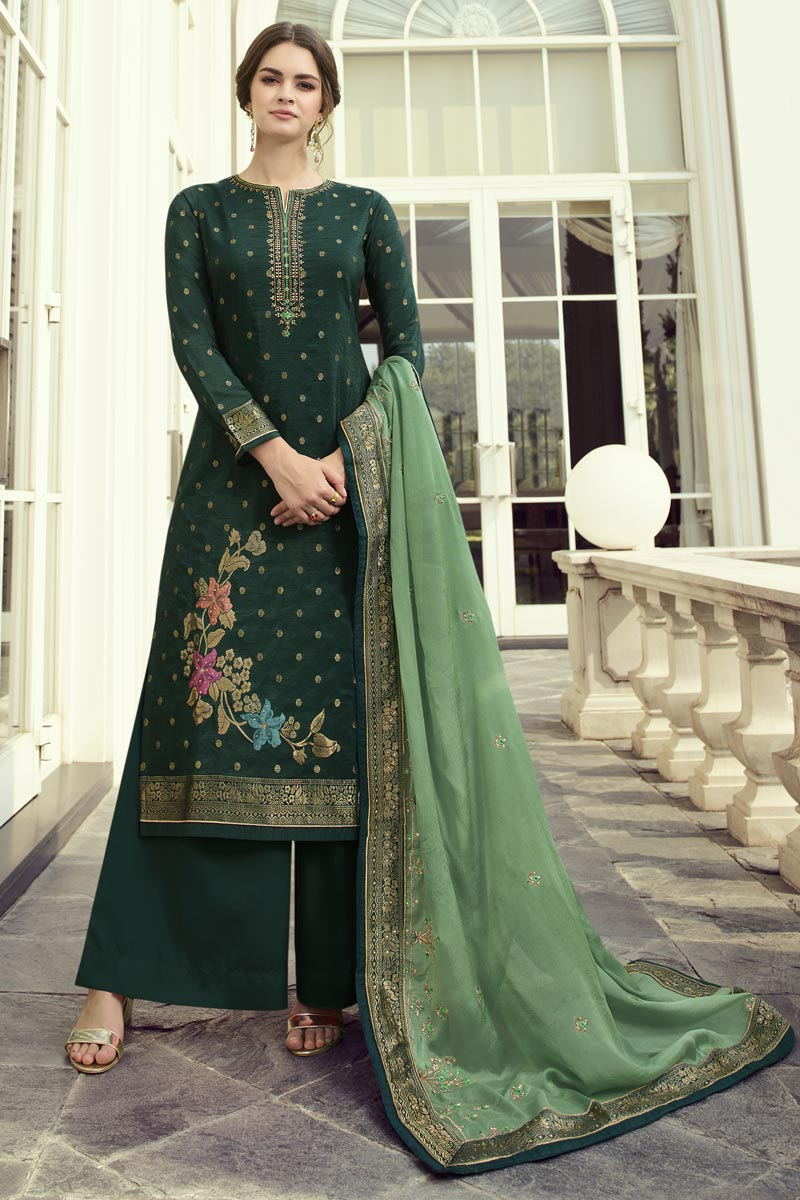 Viscose Fabric Function Wear Chic Embroidered Dark Green Color Palazzo Suit