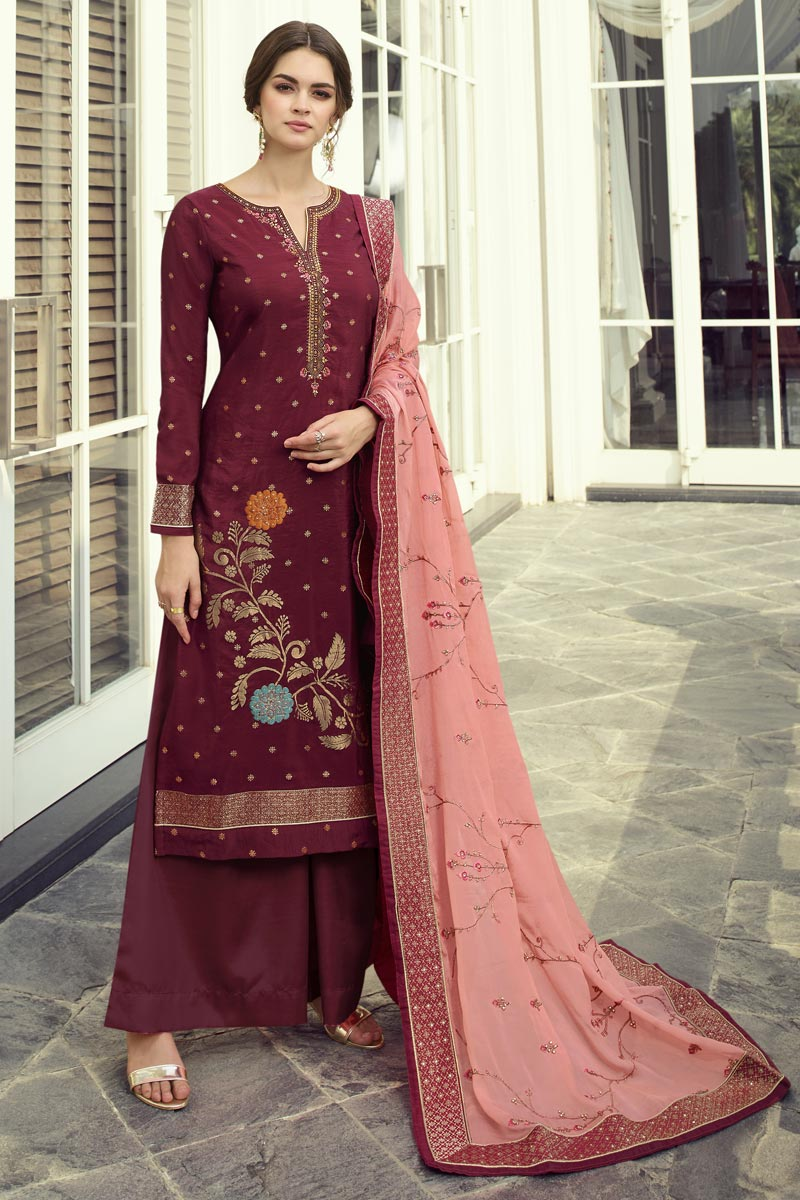 Viscose Fabric Function Wear Chic Embroidered Maroon Color Palazzo Dress