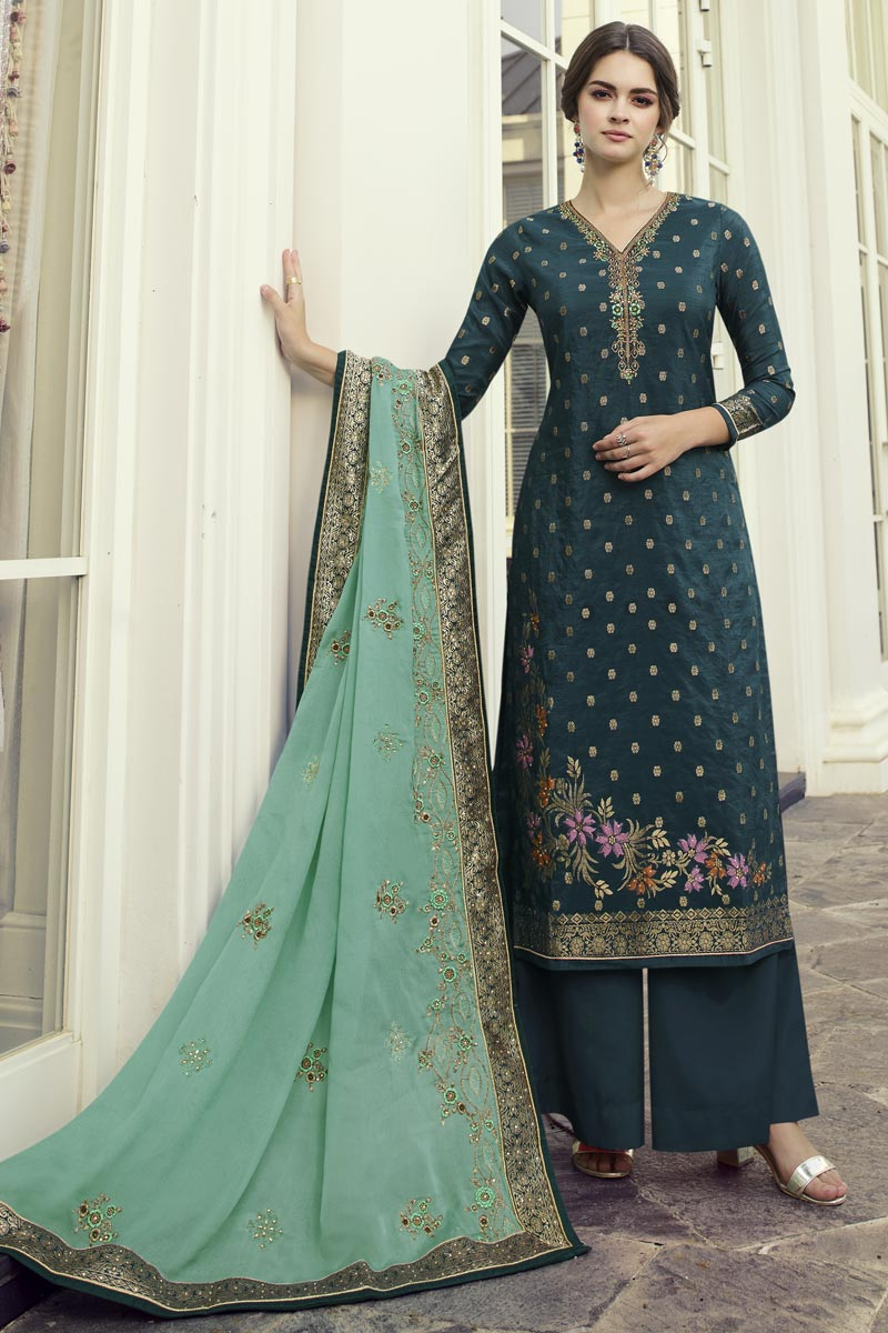 Function Wear Viscose Fabric Teal Color Chic Embroidered Palazzo Suit