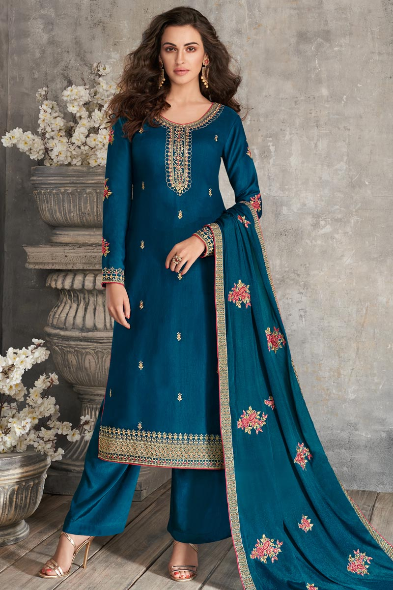 Teal Color Traditional Wear Classic Embroidered Palazzo Suit In Art Silk Fabric
