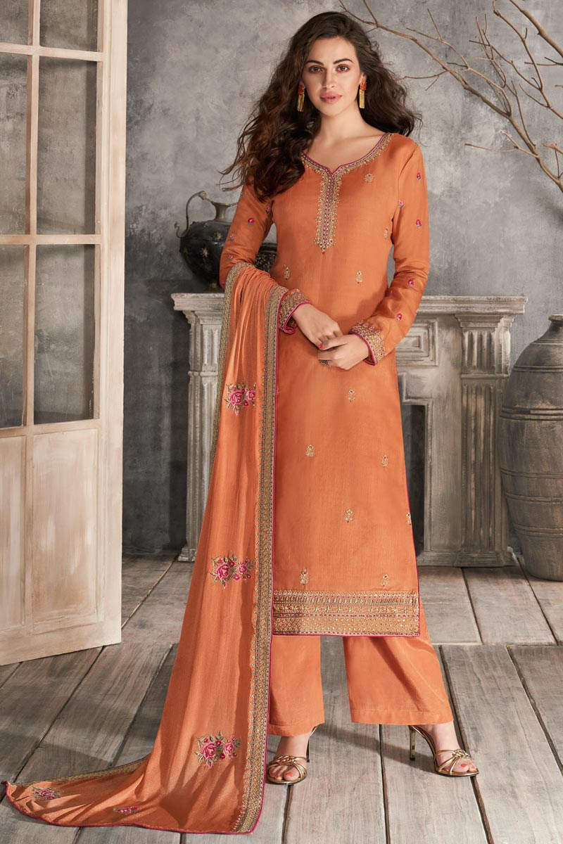 Traditional Wear Art Silk Fabric Classic Orange Color Embroidered Palazzo Dress