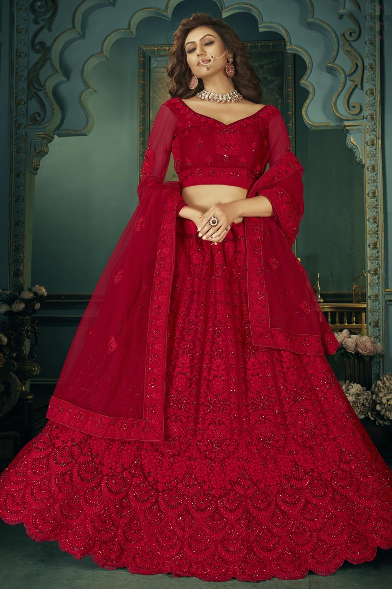 Red Color Net Fabric Embroidery Work Function Wear Fancy Lehenga Choli