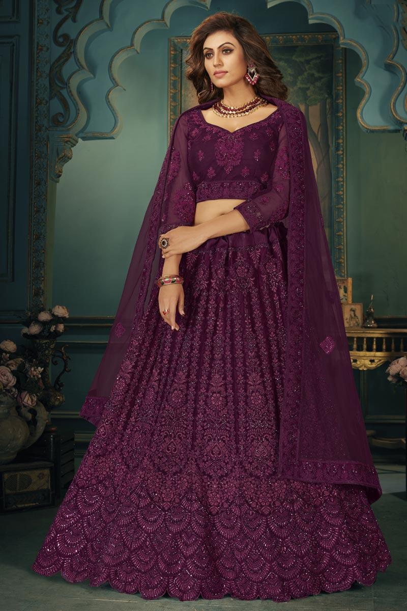 Net Fabric Embroidery Work Wedding Wear Designer Lehenga Choli In Purple Color