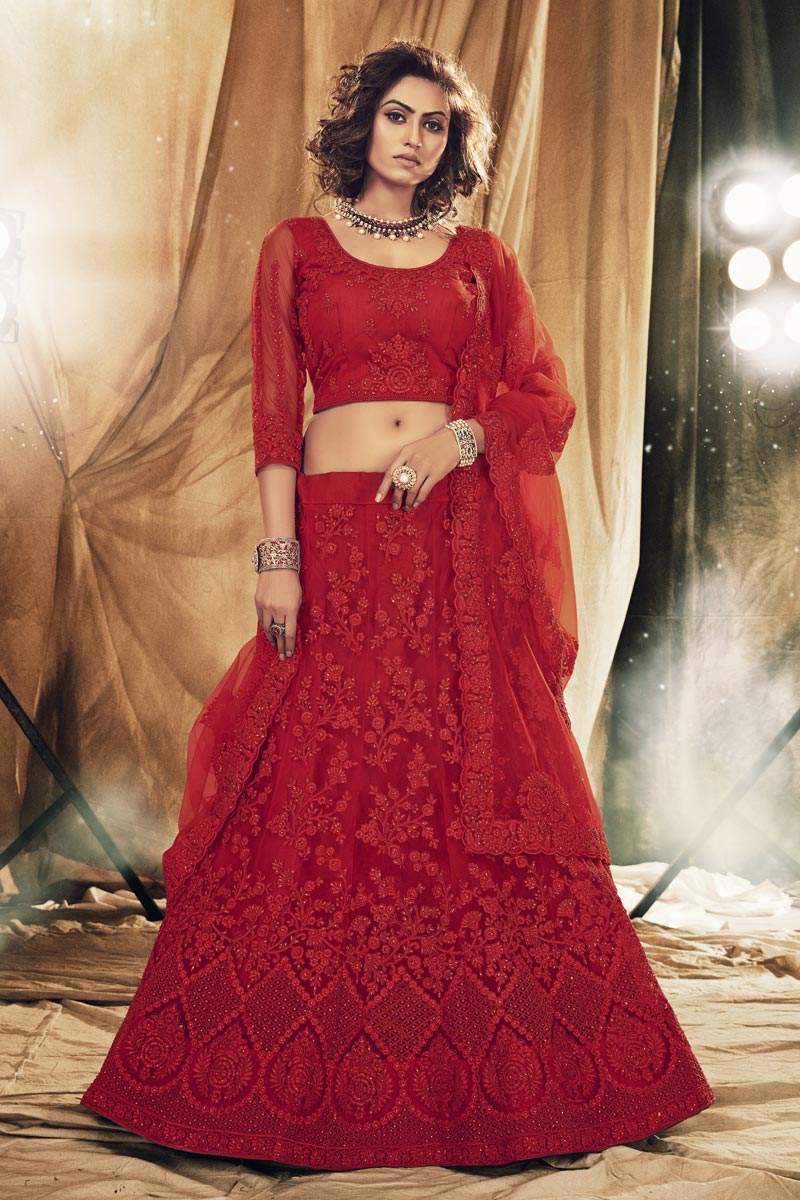 Embroidered Designer Wedding Wear Net Fabric Lehenga Choli