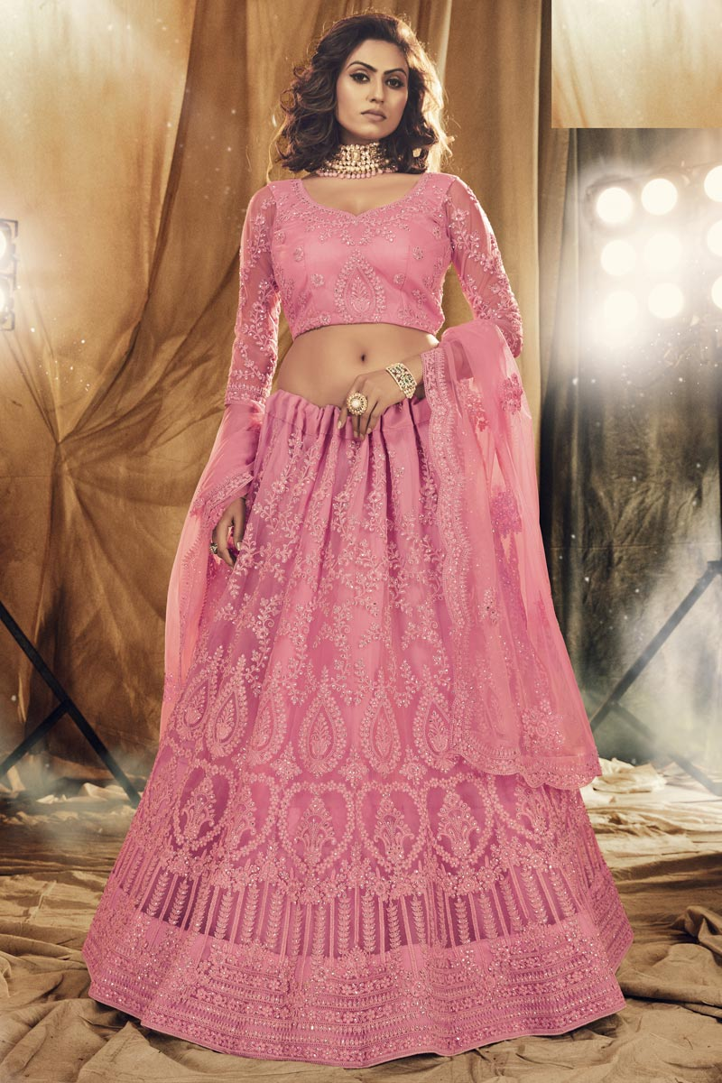 Pink Color Embroidered Function Wear Fancy Lehenga Choli