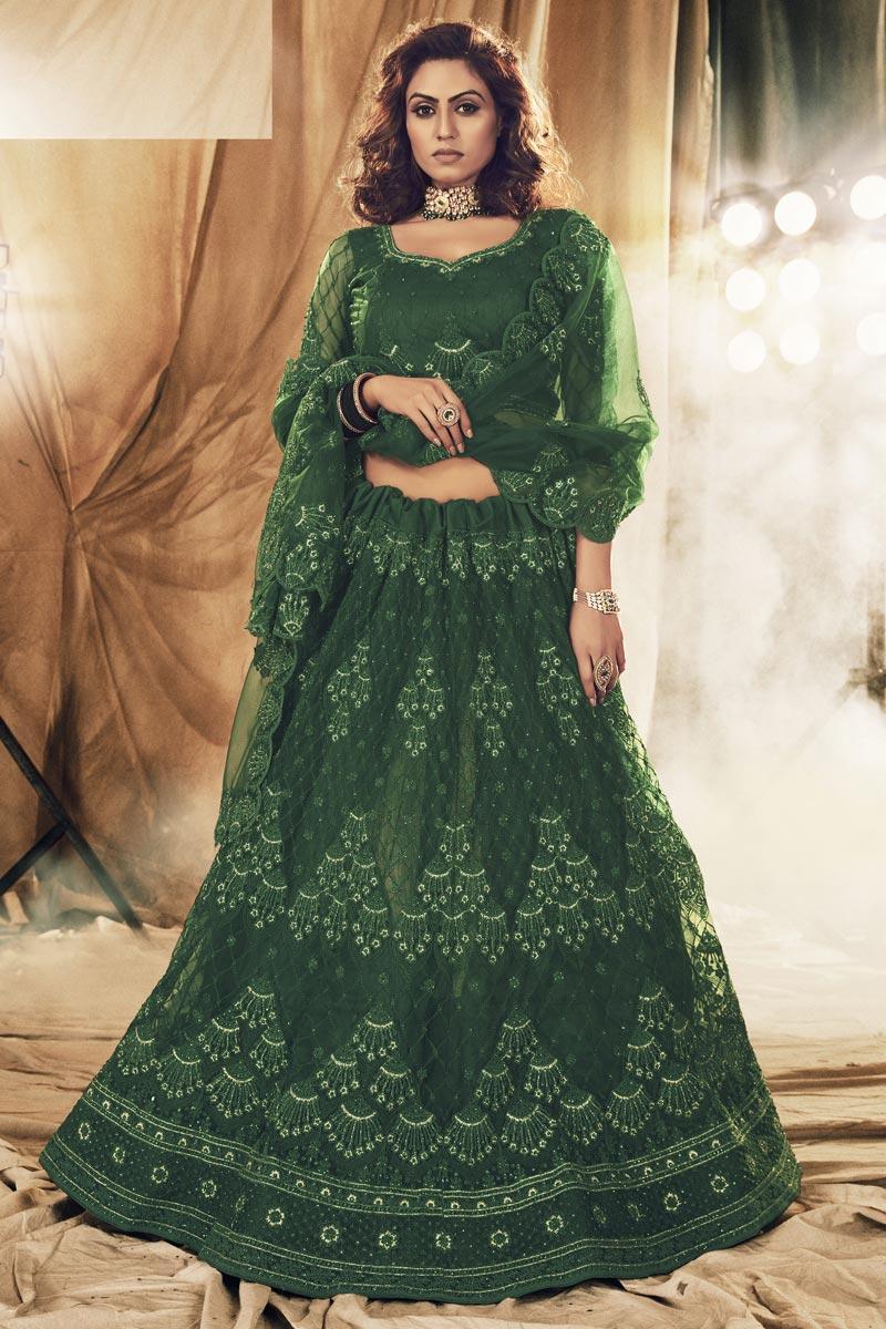 Net Fabric Festive Wear Trendy Lehenga Choli In Dark Green Color