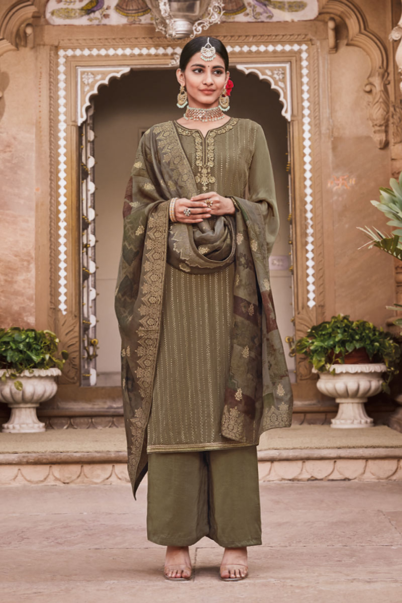 Dark Brown Color Designer Embroidered Palazzo Suit In Crepe Fabric