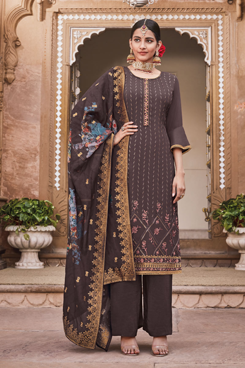 Eid Special Crepe Fabric Party Wear Designer Palazzo Suit In Wine Color