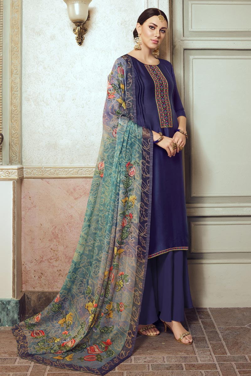 Navy Blue Color Festive Wear Chic Embroidered Palazzo Dress In Georgette Fabric