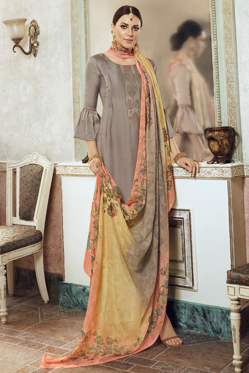 Festive Wear Dark Beige Color Georgette Fabric Chic Embroidered Palazzo Suit