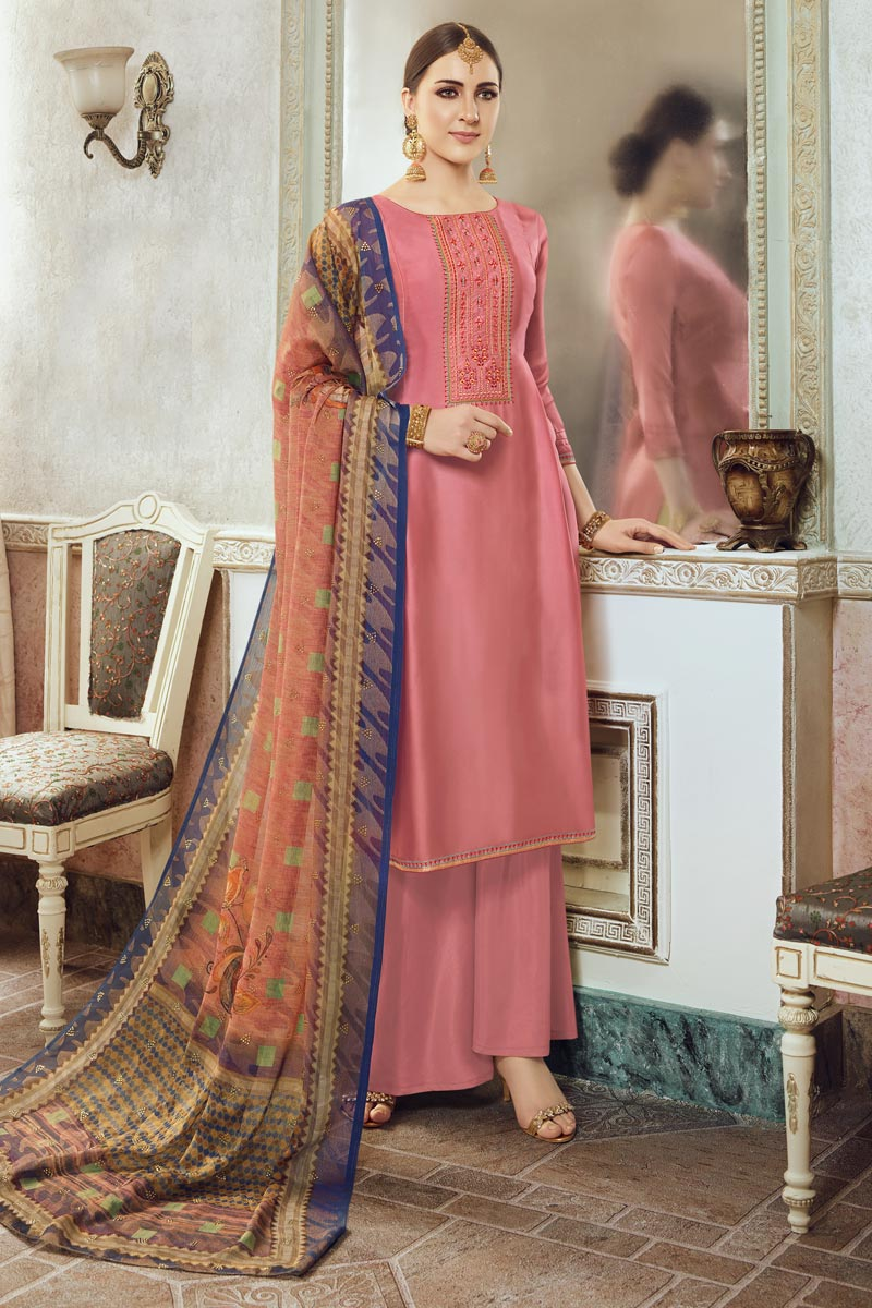 Georgette Fabric Festive Wear Chic Embroidered Palazzo Dress In Peach Color