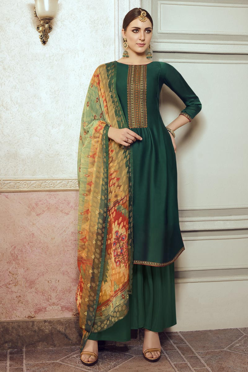 Festive Wear Dark Green Color Chic Embroidered Georgette Fabric Palazzo Suit
