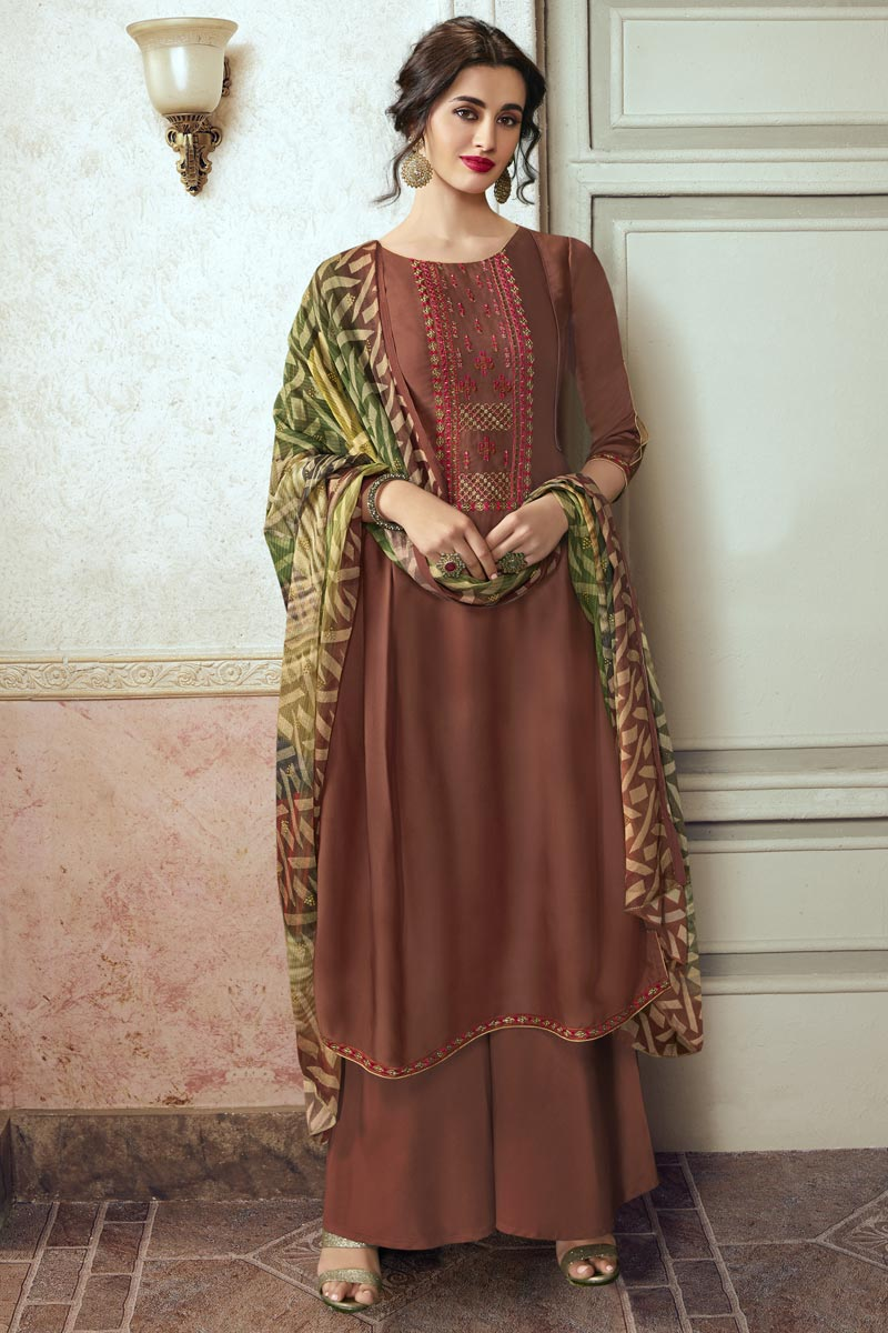 Festive Wear Rust Color Chic Embroidered Palazzo Dress In Georgette Fabric