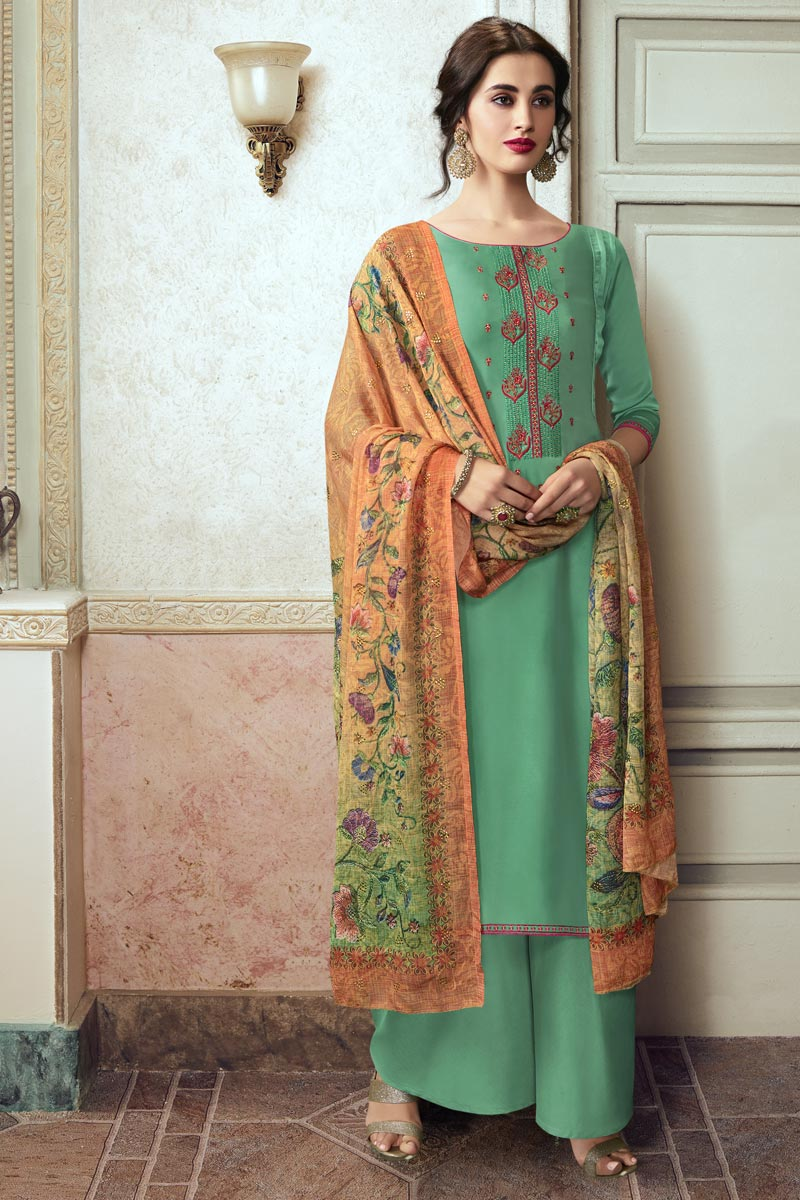 Georgette Fabric Festive Wear Chic Embroidered Sea Green Color Palazzo Suit