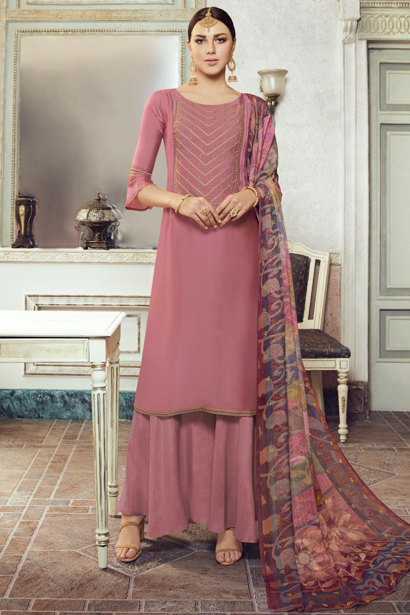 Festive Wear Georgette Fabric Pink Color Chic Embroidered Palazzo Suit