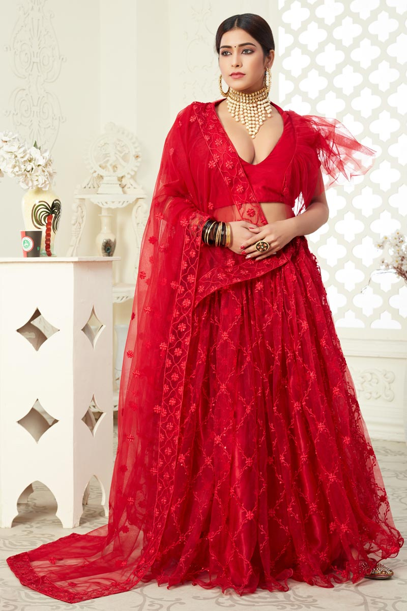 Red Color Net Fabric Embroidery Work Sangeet Wear Fancy Lehenga Choli