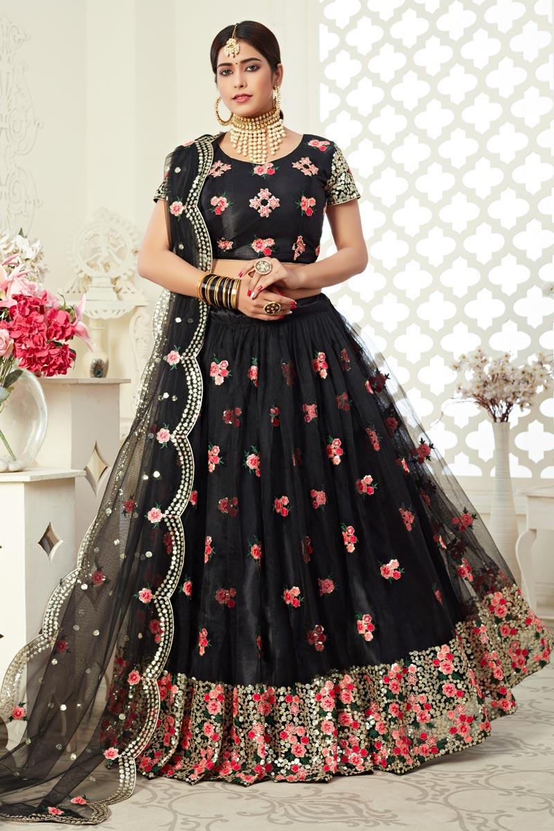 Net Fabric Embroidery Work Wedding Wear Trendy Lehenga Choli In Black Color