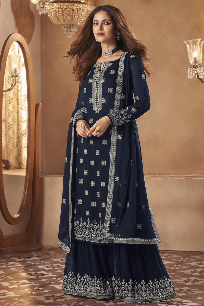 Georgette Fabric Sangeet Wear Fancy Embroidered Sharara Suit In Navy Blue Color