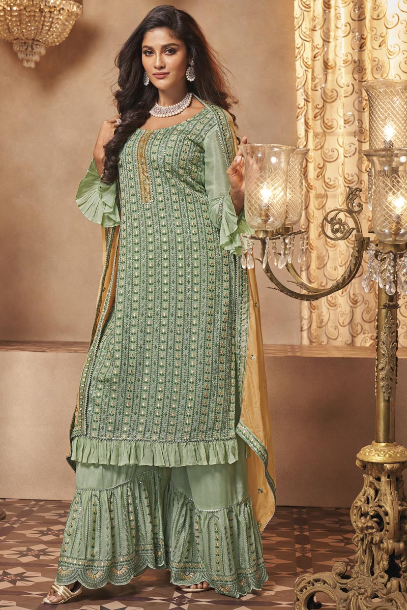 Sea Green Color Sangeet Wear Fancy Embroidered Sharara Suit In Georgette Fabric