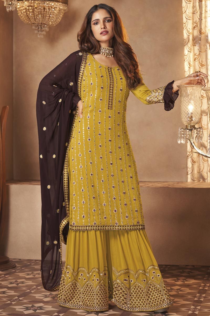 Sangeet Wear Mustard Color Embroidered Fancy Sharara Suit In Georgette Fabric