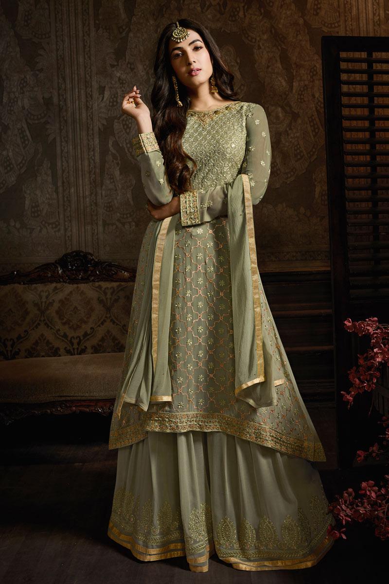 Sonal Chauhan Georgette Fabric Khaki Color Floor Length Sharara Suit